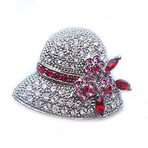 Platinum-Plated Red Swarovski Crystal Hat Design Brooch Pin by