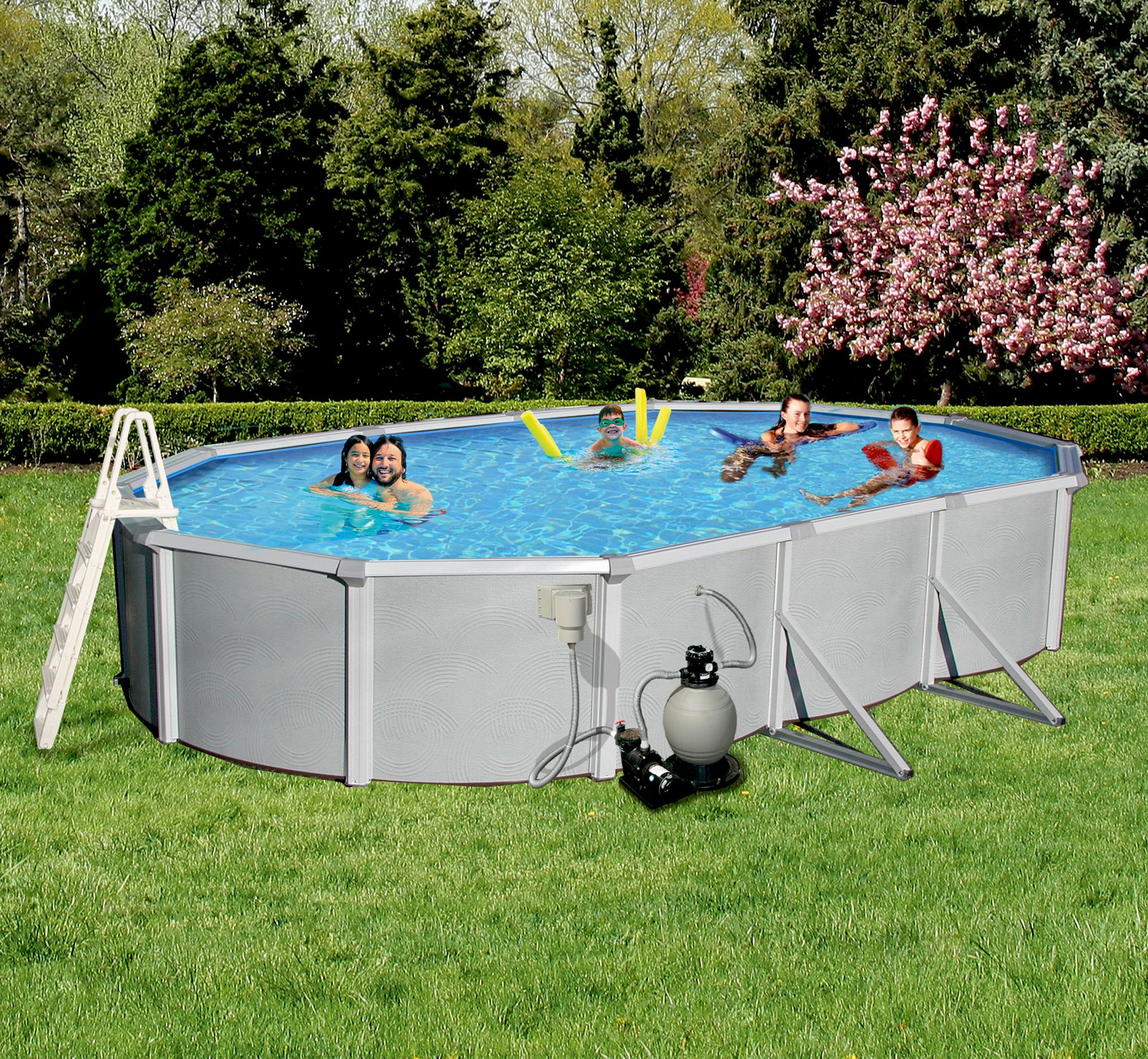 Blue Wave Samoan 18-ft x 33-ft Oval 52-in Deep 8-in Top Rail Metal Wall Swimming Pool Package