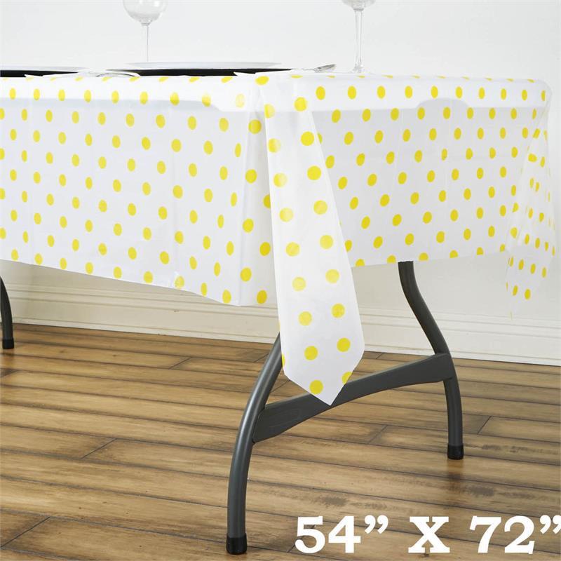 "BalsaCircle 54"" x 72"" Rectangular Polka Dots Disposable Plastic Tablecloths - Party Picnic Table Covers Decorations"