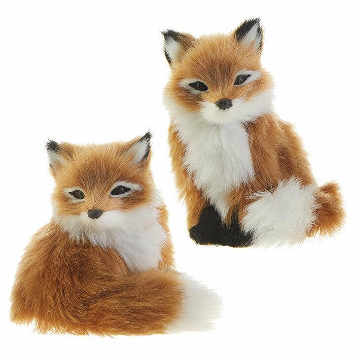 Set Of 2 Fuzzy Fox Christmas Ornament Decorations 4 25 By Raz Imports Walmart Com