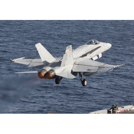October 3 2012 - An FA-18C Hornet of VFA-83 Rampagers taking off during flight operations on the USS Dwight D Eisenhower in the Arabian Sea in support of Operation Enduring