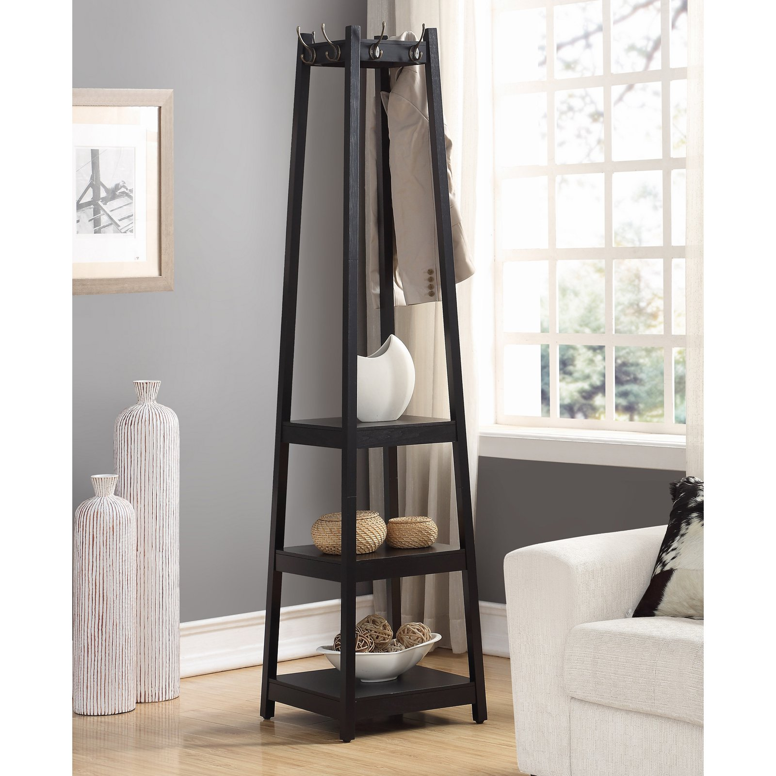 Roundhill Furniture Vassen 3 Tier Storage Shelve Coat Rack