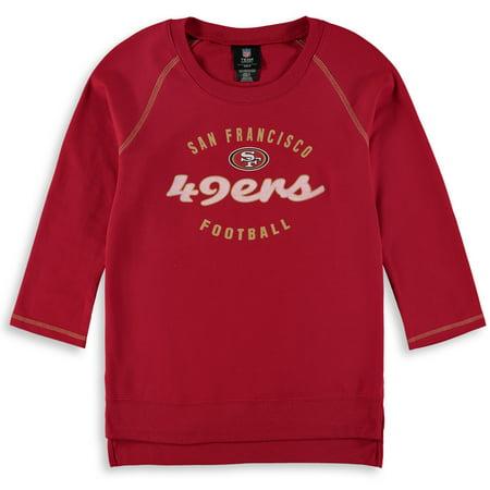 lowest price 07fb5 9720a San Francisco 49ers Girls Youth Overthrow 3/4-Sleeve Crew Sweatshirt -  Scarlet