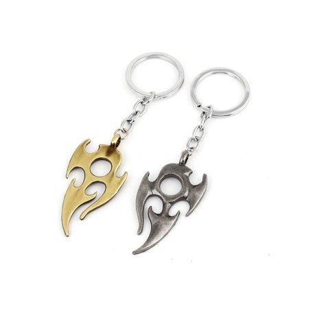 2 Pcs Gray Gold Tone Fire Pandent Key Ring Chain Keyring Bag Hanging (Hanging Ring)