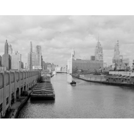 Usa Illinois Chicago Chicago River Wrigley Building Tribune Tower And Sheraton Hotel In Background Canvas Art     18 X 24