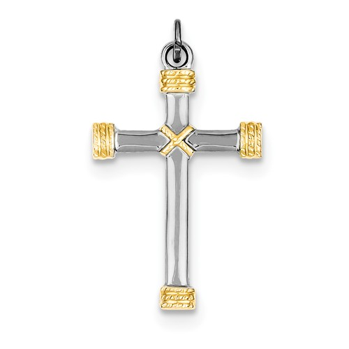 Sterling Silver 18k Gold-Plated Rope Cross Pendant.