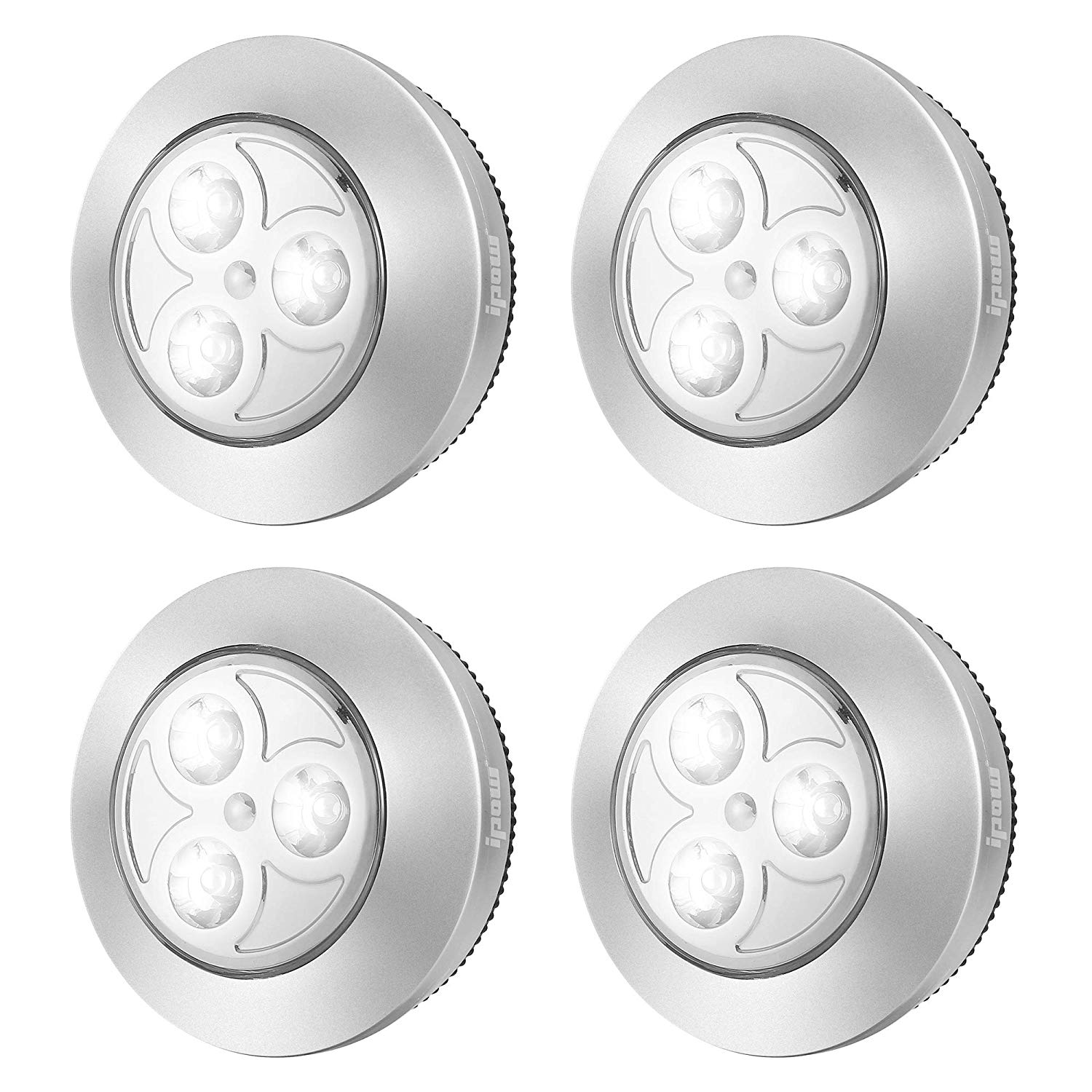 Upgraded Wireless Tap Touch Lights, IPOW YC06 Stick-on LED Battery Operated Push Night Lights Press On Cordless Led Tap Lamp for Closets,Wardrobe,Cabinets,Counters,Utility Rooms, 4 Pack