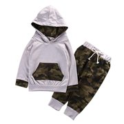 Newborn Baby Boy Girls Camouflage Clothes Set Hooded T-Shirt Tops+Pants Outfits