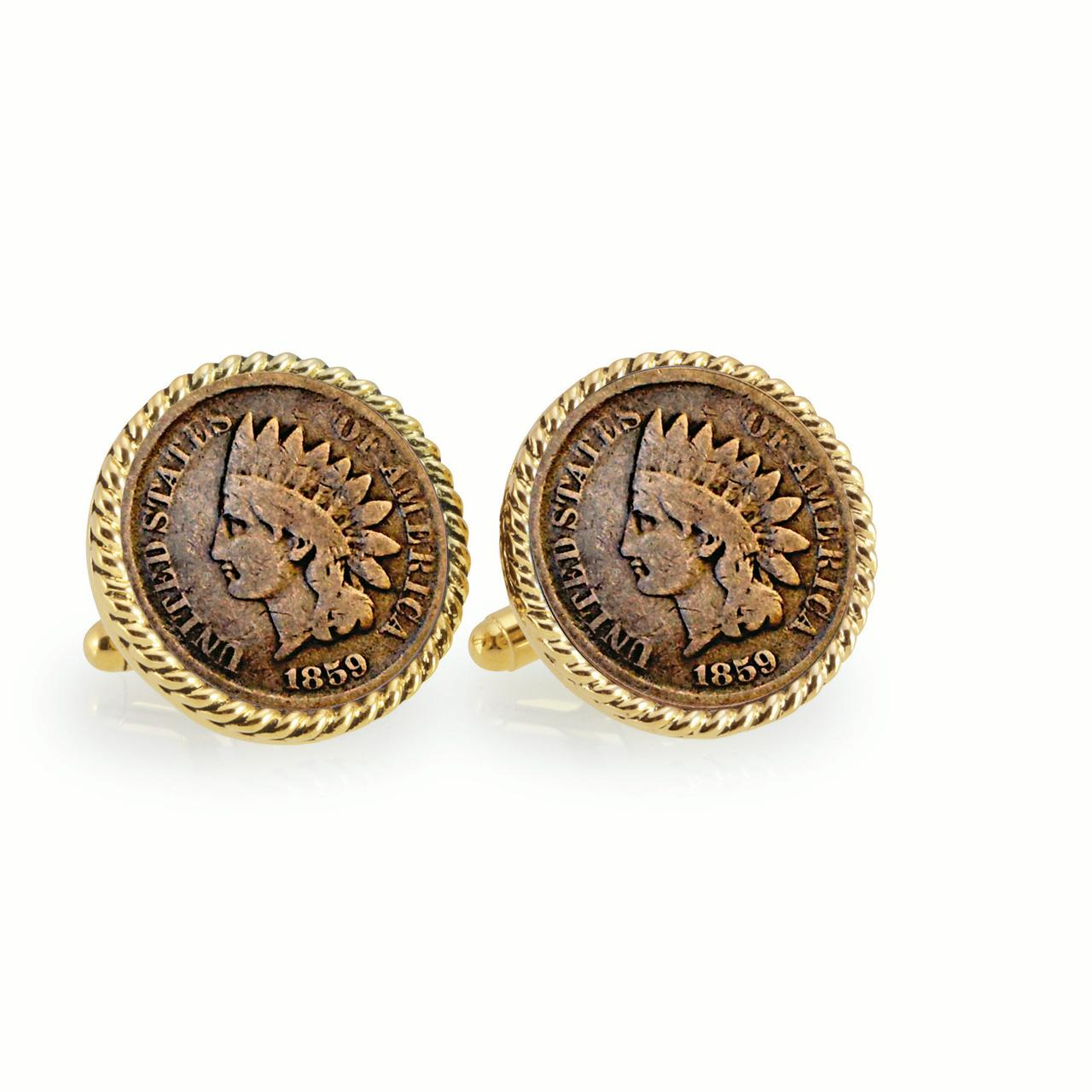 UPM Global LLC 12731 1859 First-Year-of-Issue Indian Head Penny Goldtone Rope Bezel Cuff Links