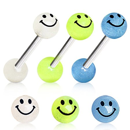 Glow In The Dark Face (Glow in the Dark Smiley Face Surgical Steel Barbell Balls 14g)