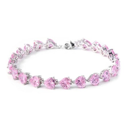 Silvertone Heart Cubic Zirconia CZ Pink Tennis Bracelet for Women Jewelry Gift 8