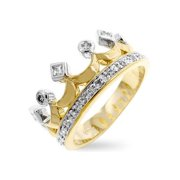 Icon Bijoux R07672T-C01-10 Two Tone Crown Ring (Size: 10)
