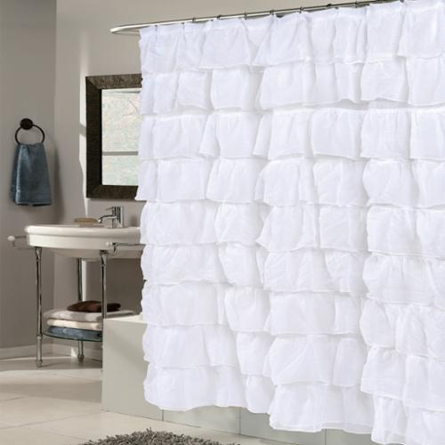 Bed Bath More: BED BATH N MORE Elegant White Crushed Voile Ruffled Tier