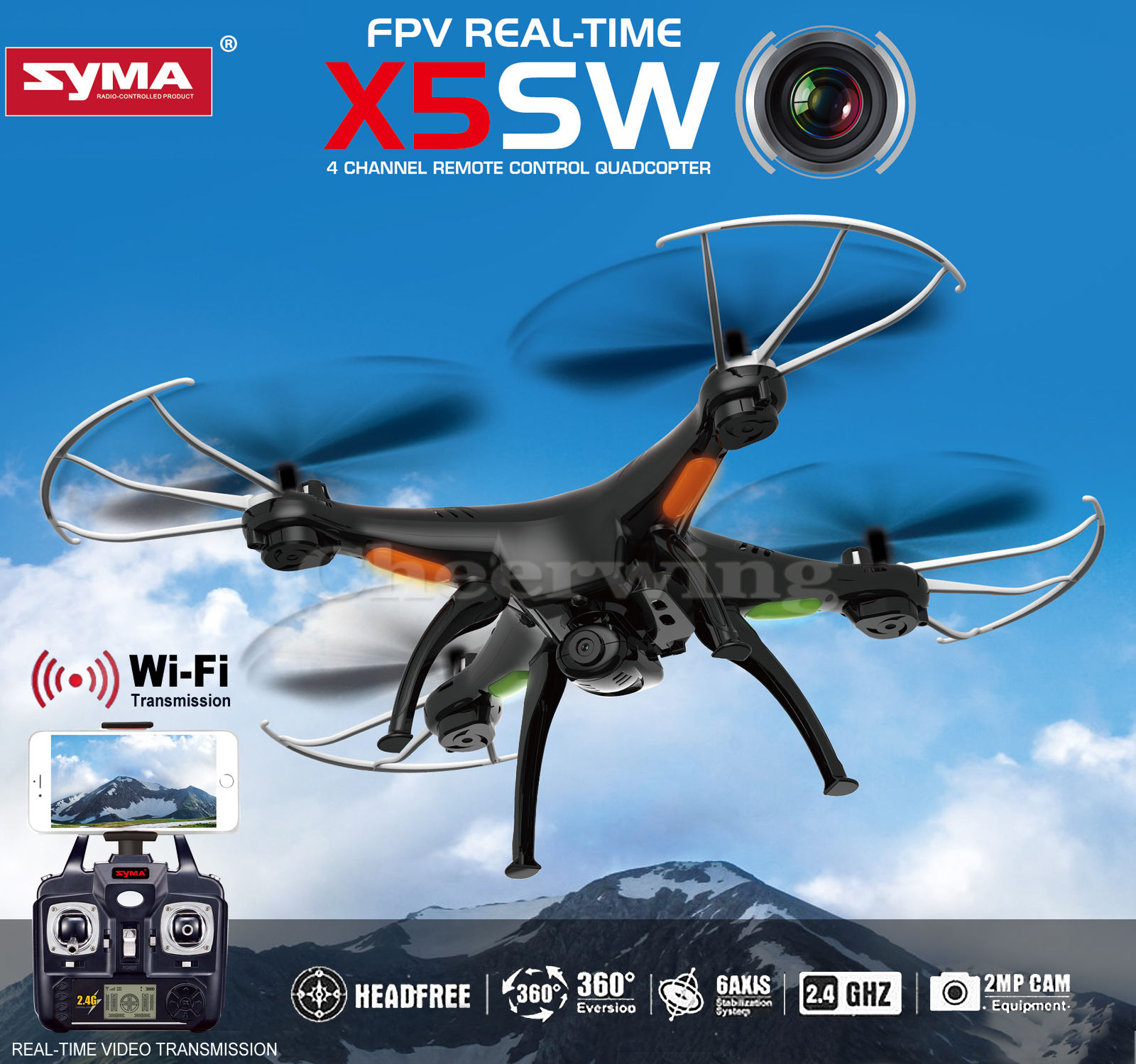 Syma X5SW UAV FPV 2.4Ghz 4CH 6-Axis Gyro RC Qucopter Drone UFO Headless Mode with 2.0MP HD Wifi Camera Support IOS Android RTF (Black) - Ship From US