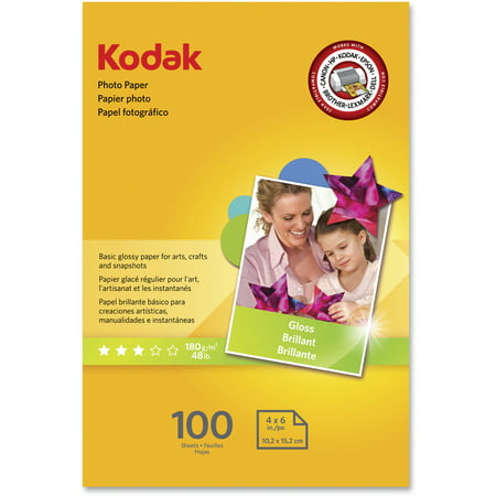 - Kodak, KOD1743327, Basic Glossy 6.5 mil Photo Paper, 100 / Each