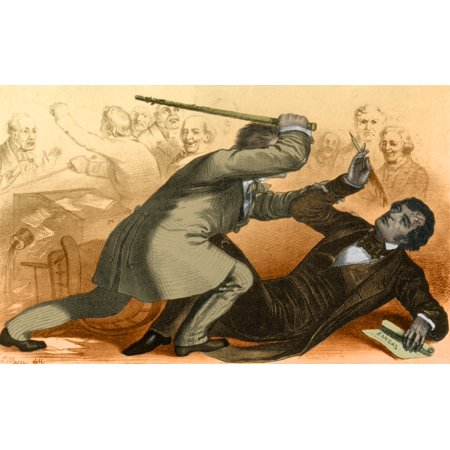 Sumner Pro Roll (Charles Sumner Attacked by Andrew Butler Rolled Canvas Art - Science Source (24 x 18) )