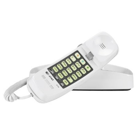 AT&T 210M Trimline Corded Phone, 1 Handset, White