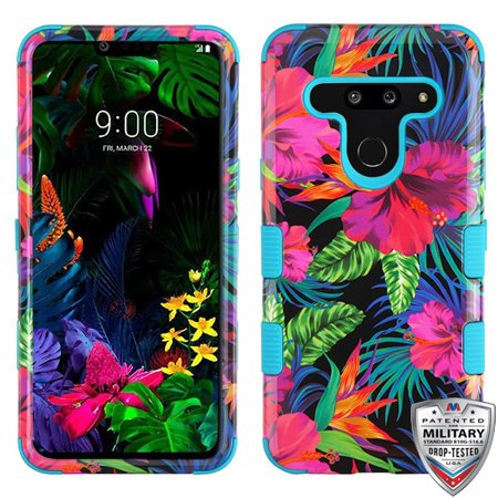 LG G8 ThinQ Phone Case 3 in 1 Hybrid Impact Armor Hard PC & Soft TPU Silicone Rubber Heavy Duty Rugged Bumper Shockproof Full Body Protective Case Colorful Hibiscus Flowers Cover for LG G8 Thinq (2 In 1 Bumper Case Note 3)