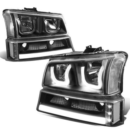 For 2003 To 2006 Chevy Silverado Clic Avalanche Led Drl Bar Dual Halo Headlights Turn Signal Black Housing Clear Corner Headlamp 04 05