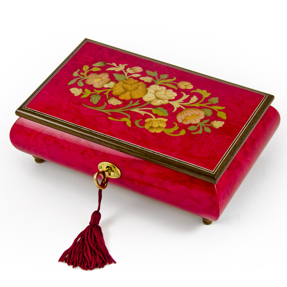 Radiant 30 Note Italian Red Wine Floral Inlay Musical Jewelry Box with Lock and Key - Memory (Cats)