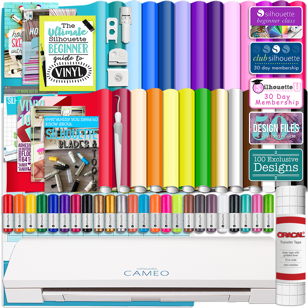 Silhouette Cameo 3 Bluetooth Bundle 26 Oracal 651 Sheets, Guides, 24 Pack Sketch Pens, and More