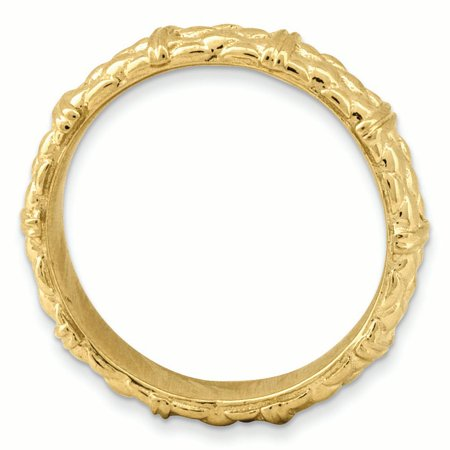 Sterling Silver Stackable Expressions Gold-plated Ring Size 6 - image 2 of 3