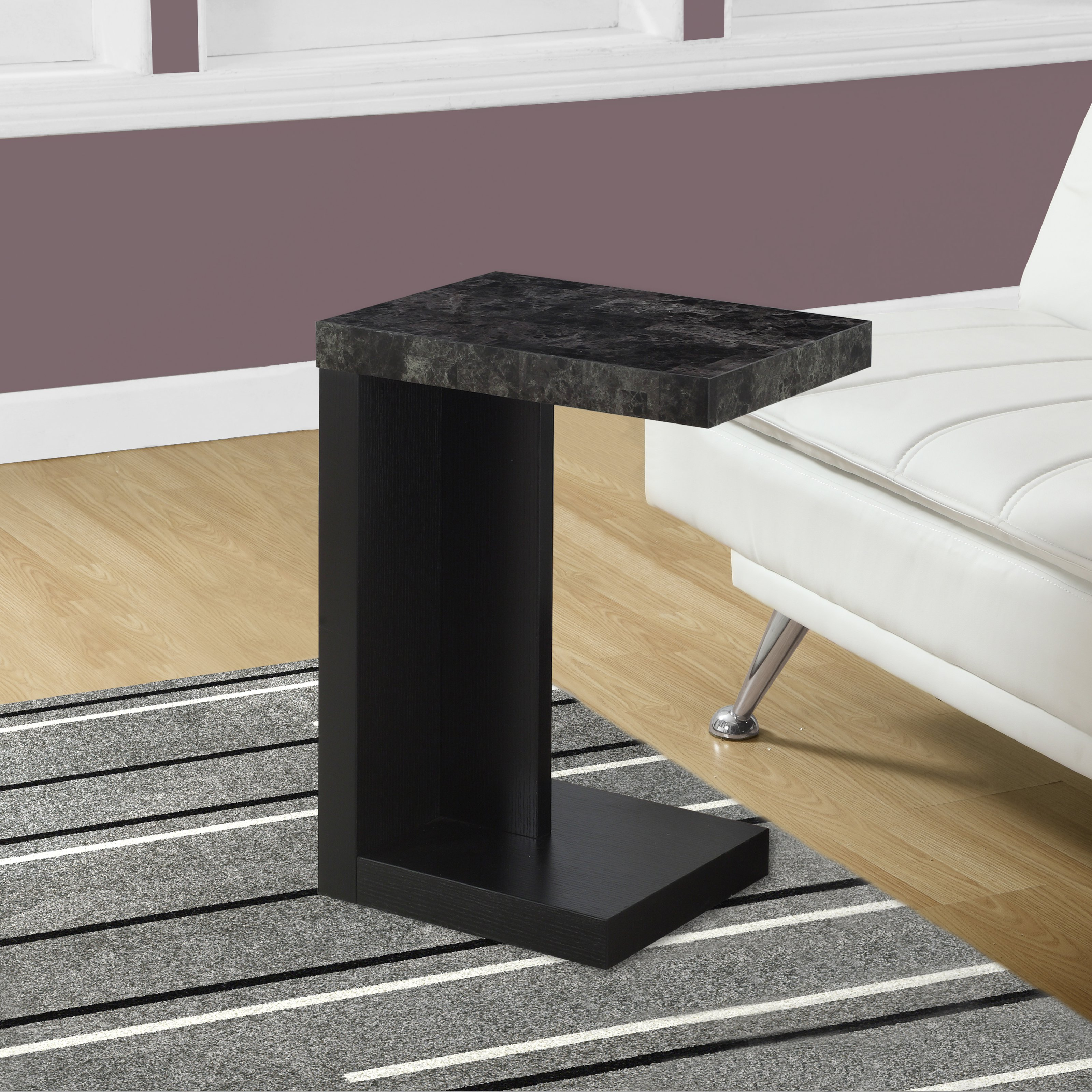 Monarch Accent Table Black / Grey MarbleLook Top
