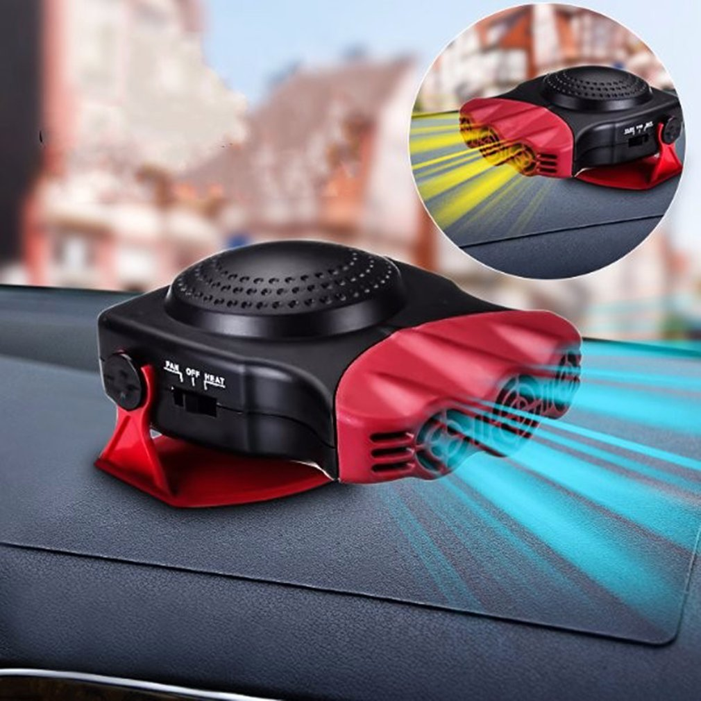 2 In 1 12V 150W Auto Car Heater Portable Heating Fan With Swing-Out Handle,Black+Red