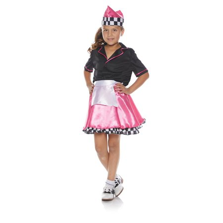 Pink 50s Car Hop Child Halloween (50's Car Hop Waitress Costume)