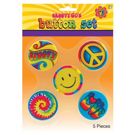 Hippie Button Set Adult Costume Accessory Set](Find Costume Coupon)
