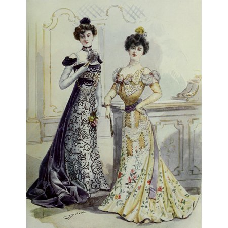 Latest Paris Fashions 1877 Robes de Soiree 2 Poster Print by Unknown - Soiree Halloween Paris