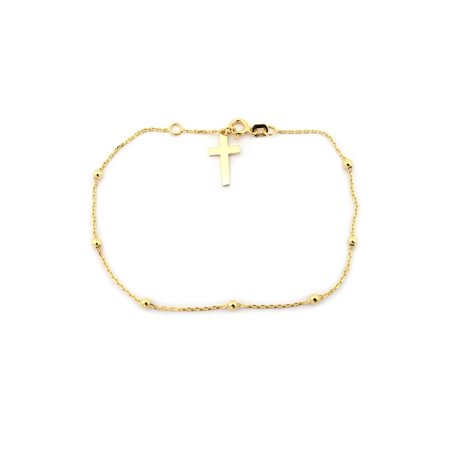 14k Yellow Gold Rosary Bead Cross Bracelet, 7.25