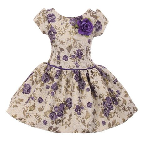 Kiki Kids Girls Purple Flower Printed Brocade Short Sleeve Dress ()