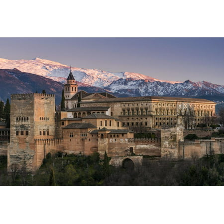 View at sunset of Alhambra palace with the snowy Sierra Nevada in the background, Granada, Andalusi Print Wall Art By Stefano Politi Markovina](Alhambra Palace Halloween)