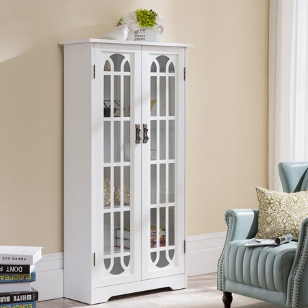 Southern Enterprises Display Cabinet w/ Windowpane Glass Doors, White Dual Pane Glass Door