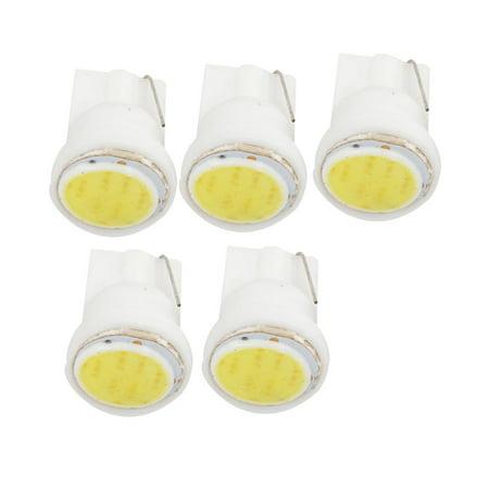 Unique Bargains 5 Pcs T10 W5W White COB Light Lamp Spare Bulb 12V for Vehicles Car