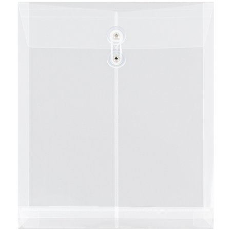 - JAM Paper Plastic Envelope with Button and String Tie Closure, Letter Open End, 9 3/4 x 1 1/4 x 11 3/4, Clear, 12/pack