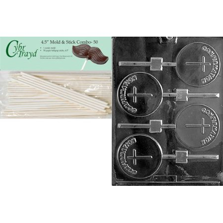 Cybrtrayd Confirmation Lolly Chocolate Candy Mold with 50 4.5-Inch Lollipop Sticks and Exclusive Cybrtrayd Copyrighted Chocolate Molding Instructions ()