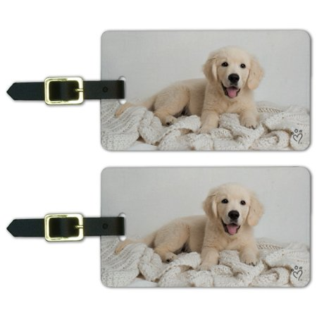 Golden Retriever Puppy Dog and Blanket Luggage ID Tags Suitcase Carry-On Cards - Set of 2