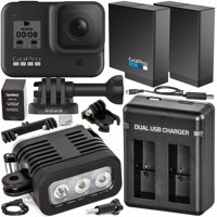 GoPro HERO8 (Hero 8) Action Camera (Black) with Starter Accessory Bundle – Includes: Spare / Replacement Battery (1700mAh), Dual USB Battery Charger & Rechargeable Underwater LED Light