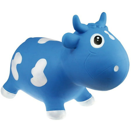 Kidzz Farm Jumping Animals Bouncy Animal Hopper Bella Milk Cow, Blue