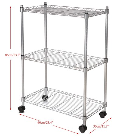3-Tier Heavy Duty Rolling Metal Kitchen Rack Microwave Oven Stand Storage Cart CYBST