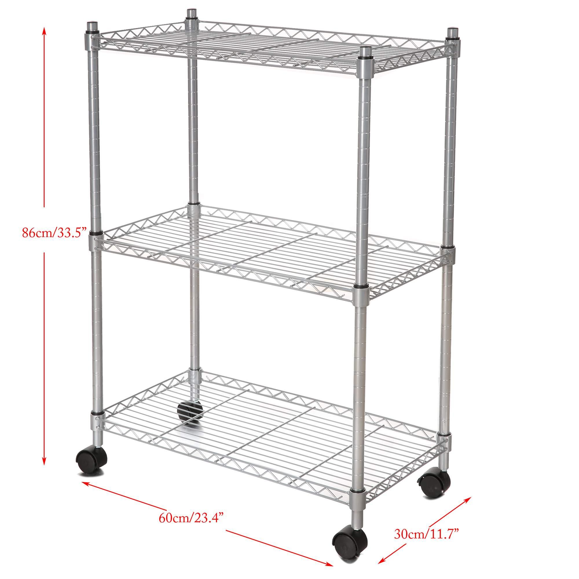 3 Tier Heavy Duty Rolling Metal Kitchen Rack Microwave Oven Stand Storage  Cart CYBST