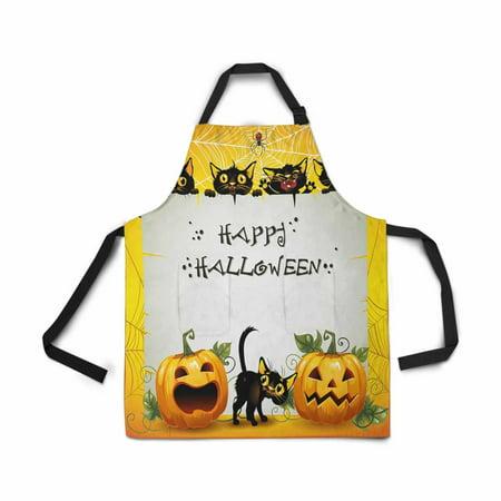 ASHLEIGH Black Cat Pumpkin Halloween Apron for Women Men Girls Chef with Pockets Halloween Holiday Unisex Adjustable Bib Apron Kitchen for Cooking Baking Gardening Home](Cooking Your Halloween Pumpkin)