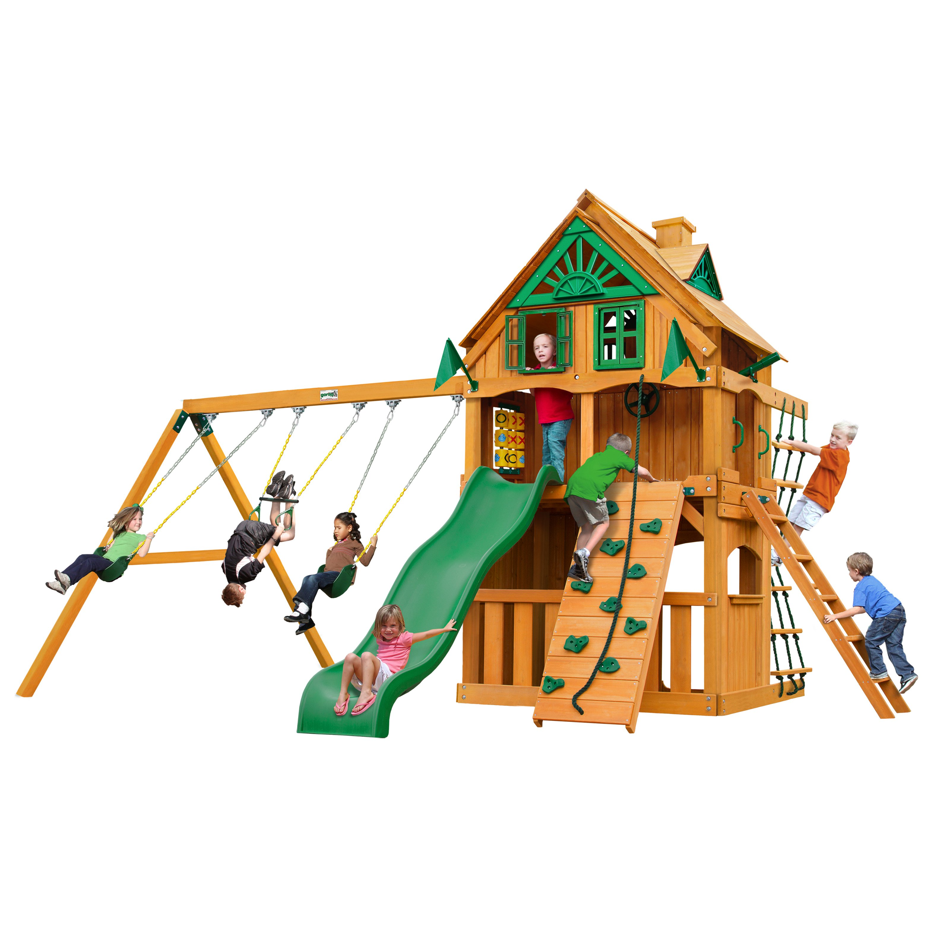 Gorilla Playsets Chateau Clubhouse Treehouse Cedar Swing Set with Fort Add-On and Natural Cedar Posts