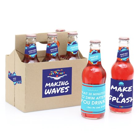 Making Waves - Swim Team - Swimming Party Decorations for Women and Men - 6 Soda/Beer Bottle Label Stickers and 1](Halloween Soda Bottle Labels)