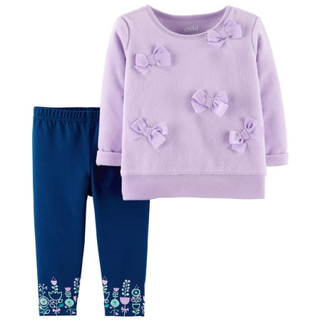 Long Sleeve Bow Fleece Top & Pants, 2-Piece Outfit Set (Baby Girls)
