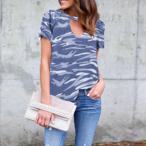 Womens Camouflage T-Shirt Summer Beach Casual Short Sleeve Tops Blouse Size 8-18