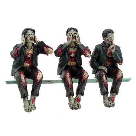 - Walking Dead Zombie Undead See Hear Speak No Evil Set of Shelf Sitters Computer Top Statue Figurines