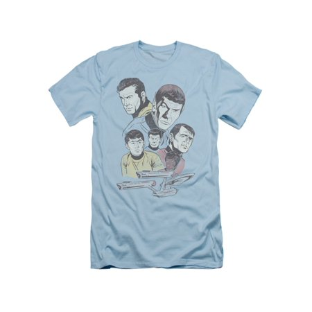 Star Trek TV Series Retro Crew Kirk Spock Scotty McCoy Uhura Adult Slim T-Shirt